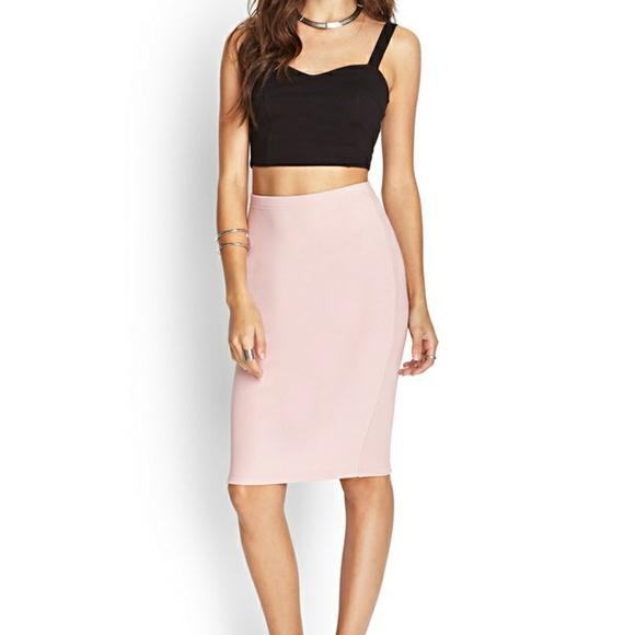 770a8a088 Forever 21 Skirts   Nwt Blush Pink Knee Midi Pencil Skirt   Poshmark
